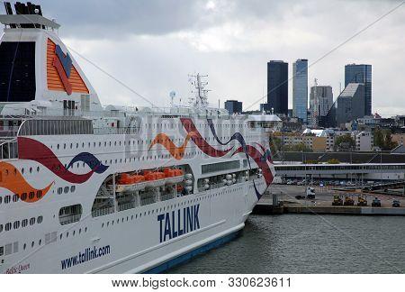 Tallinn, Estonia - October 05, 2019: The Harbor Of Tallinn At The Baltic Sea. The Tallink Is The Fer