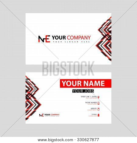 Business Card Template In Black And Red. With A Flat And Horizontal Design Plus The Ne Logo Letter O