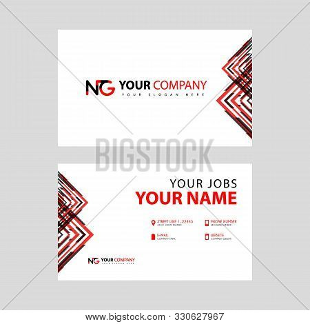 Business Card Template In Black And Red. With A Flat And Horizontal Design Plus The Ng Logo Letter O