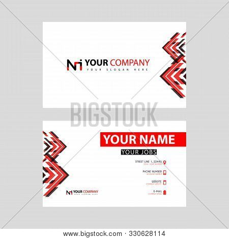 Business Card Template In Black And Red. With A Flat And Horizontal Design Plus The Ni Logo Letter O