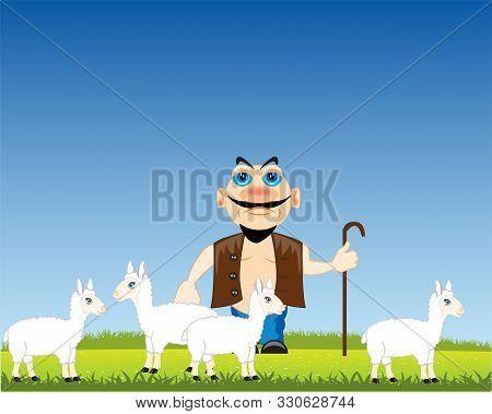 Man Shepherd With Sheep On Year Glade