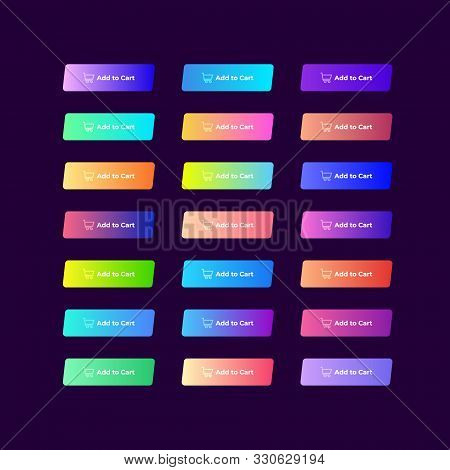 Set Of 21 Colorful Gradient Buttons On Dark Background.