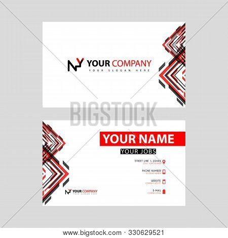 Business Card Template In Black And Red. With A Flat And Horizontal Design Plus The Ny Logo Letter O