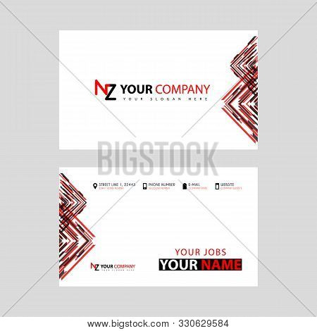 Business Card Template In Black And Red. With A Flat And Horizontal Design Plus The Nz Logo Letter O