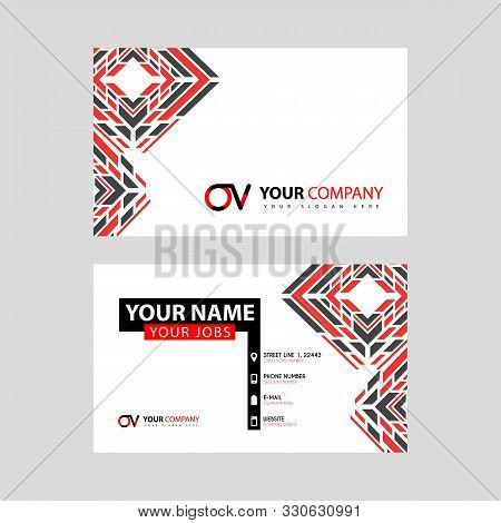 Letter Ov Logo In Black Which Is Included In A Name Card Or Simple Business Card With A Horizontal T