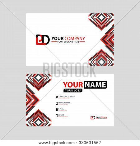 Modern Business Card Templates, With Pd Logo Letter And Horizontal Design And Red And Black Colors.