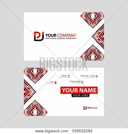 Modern Business Card Templates, With Pj Logo Letter And Horizontal Design And Red And Black Colors.