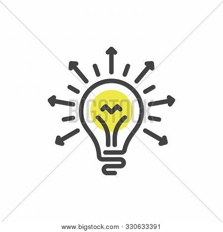 Lightbulb Linear Icon. Idea And Creativity In Business. Stock Vector Illustration Isolated On White