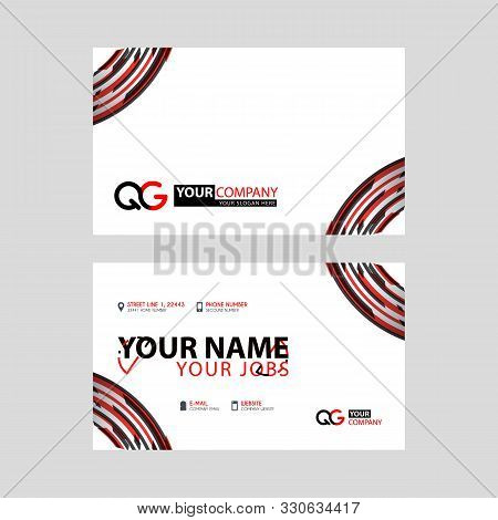 Modern Simple Horizontal Design Business Cards. With Qg Logo Inside And Transparent Red Black Color.