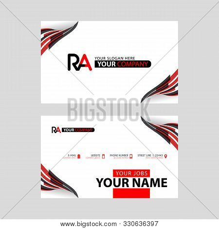 Logo Ra Design With A Black And Red Business Card With Horizontal And Modern Design. Ar Logo Design