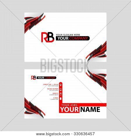 Logo Rb Design With A Black And Red Business Card With Horizontal And Modern Design. Br Logo Design