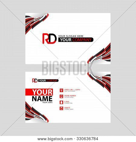 Logo Rd Design With A Black And Red Business Card With Horizontal And Modern Design. Dr Logo Design