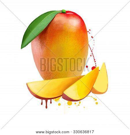 Mango Cubes And Slices Isolated On White Background. Mango Juicy Fruit Drupe Consisting Of Tropical