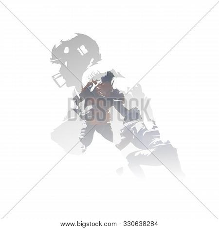 American Football Players, Double Exposure Vector Illustration. Group Of Isolated Football Players,