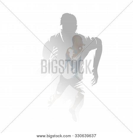 Run, Sprinting Men, Isolated Double Exposure Vector Illustration. Group Of Runners, Multiexposure