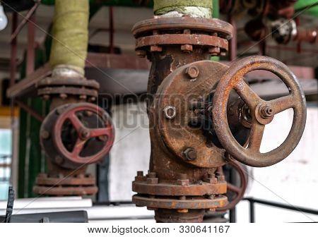 Shutoff Valves In A Water Supply Network. Gas Boiler Room Equipment.