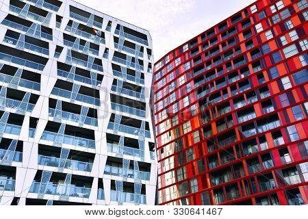 Rotterdam, Netherlands - September 2, 2019: Residential Complex Calypso Rotterdam. Bottom View.