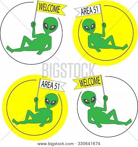 Alien Ufo Alien Joke Emblem Sticker Area51