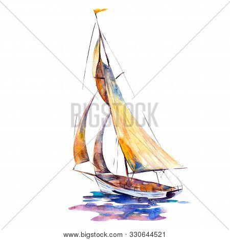 Watercolor Illustration, Hand Drawn Sailboat Isolated Object On White Background. Art Print Boat Wit
