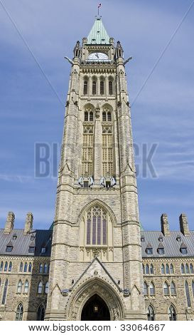 Peace Tower Parliament Building in Ottawa Canada