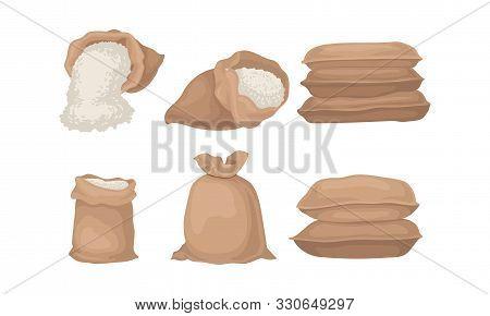 Burlap Sacks With Rice Or Flour Vector Set