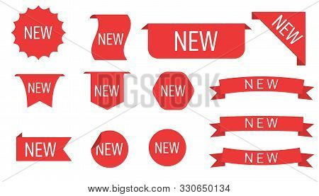New Collection Sale Tags Shop Product, Labels Or Sale Posters. Tags Set. New Tag Red Ribbon And Bann