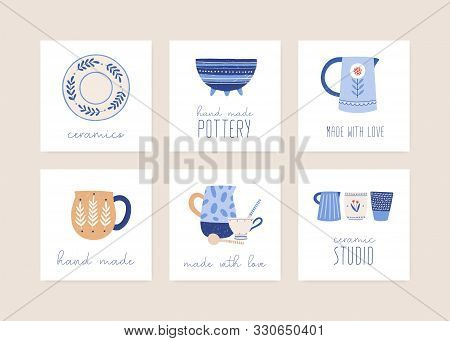 Handmade Ceramics Flat Vector Illustration Set. Porcelain Dishware Collection. Decorative Pottery Wo