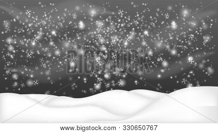 Snowy Landscape Isolated On Dark Background.christmas, Snowy Woodland Landscape. Winter Background W