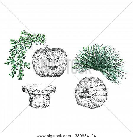Graphic Composition For Halloween Pumpkins And Plants Using Pointillism Liner Technique.