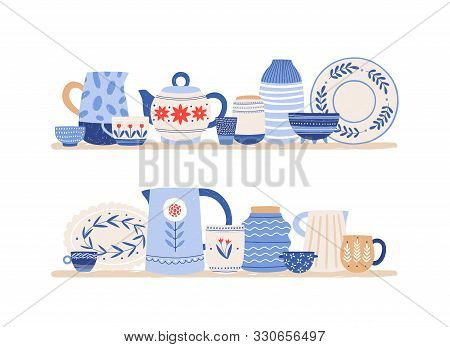 Beautiful Handmade Ceramics On Shelves Flat Vector Illustration. Clean Dishes. Decorative Tableware