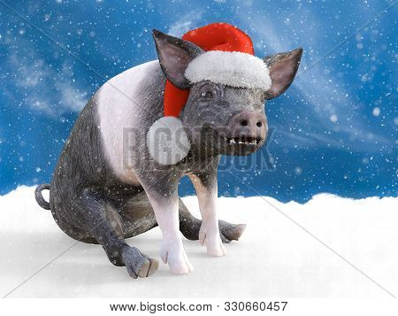 3d Rendering Of A Piglet Sitting Down In Snow Looking Happy And Wearing A Santa Hat. Snowy Backgroun