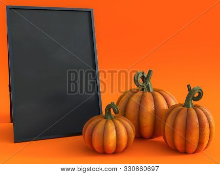 3d Rendering Of A Halloween Fall Pumpkin Greeting Card With A Blackboard To Write Your Message On An