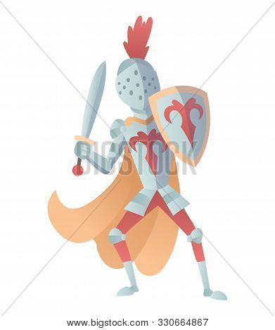 Medieval Knight In Full Armor Flat Illustration. The Comic Caricature. Funny Cartoon Knight.