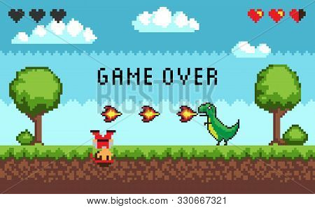 Computer Pixel Game Interface, Pixalated Defeated Personage Near Dinosaur With Fire, 8 Bit Portrait