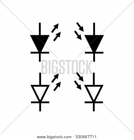 Set Of Electronic Symbol Line Icon Design. Electronic Sign Vector. Such As Lamp, Battery, Diode, Res