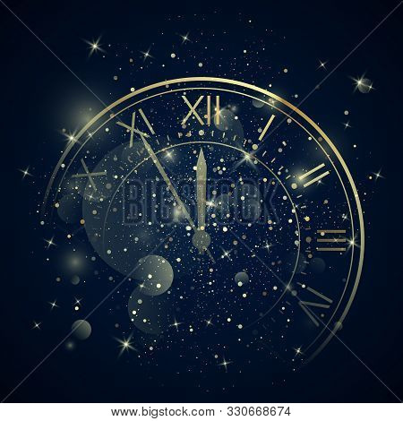 Golden Clock Dial with Roman Numbers on Magic Christmas Glitter Background. New Year Countdown and chimes. Five minutes before twelve. Vector poster