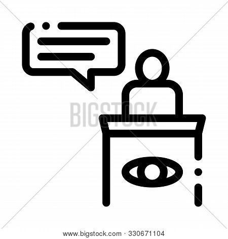 Male Witness Law And Judgement Icon Vector Thin Line. Contour Illustration poster