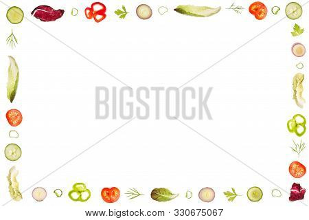 Frame Of Lettuce Ingredients Like Romain Lettuce,peppers,onions,dill And Parsley,tomatos,radicchio A