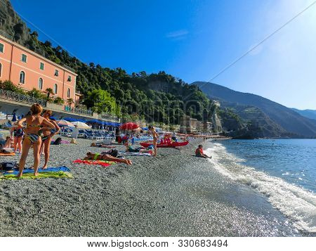 Monterosso, Italy - September 14, 2019: People At Monterosso In Summer Season, A Coastal Village In