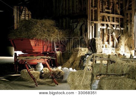 Red Cart In Rustic Barn