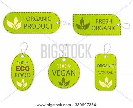 Healthy Nature Organic Vegan Emblem. Fresh Nutrition Tag, Logo. Labels Ecology Food. Set Certified P