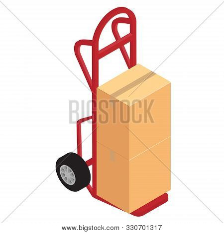 Hand Truck With Brown Cardboard Boxes Vector. Package Delivery