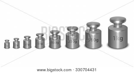 Vector 3d Realistic Metal Steel Silver Calibration Laboratory Weight Different Sizes Icon Set Closeu