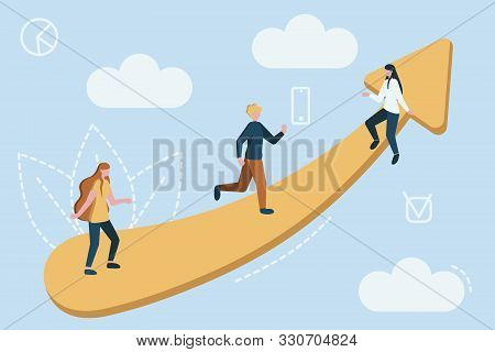 Vector Teamwork Concept. Little Business People Together Trying To Climb Up Stairway By Chart.