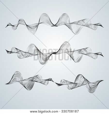 Waveform Smooth Curved Lines Abstract Design Element Technological Background With A Line In Wavefor