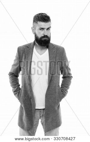 Owner Of Brutal Beard. Caucasian Man With Brutal Appearance. Bearded Man With Moustache And Beard On