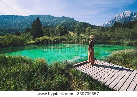 Woman Enjoying Freedom On Nature Outdoors. Travel Slovenia Europe.