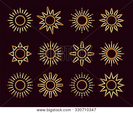 Golden Sun Icons With Different Rays. Gold Summer Symbols With Gradient. Line Sunlight Signs Isolate