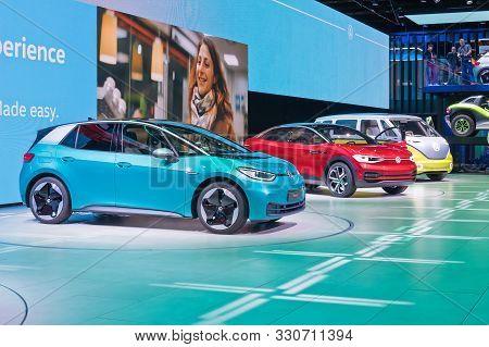 Frankfurt-september 19: Volkswagen Id Family 3, Crozz And Buzz At The Frankfurt International Motor
