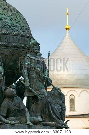 Veliky Novgorod Russia - October 11, 2019. Sculpture Of Prince Dmitry Donskoy At The Monument Millen